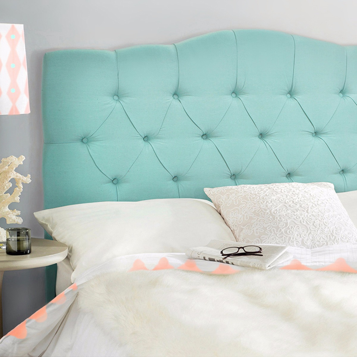 Full Queen Bed Headboard Modern Tufted Fabric, Sea Mist by