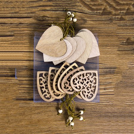 12Pcs Christmas Wood Pendants Carved Wood Slices Crafts Xmas Tree Hanging Ornaments Decorations ()