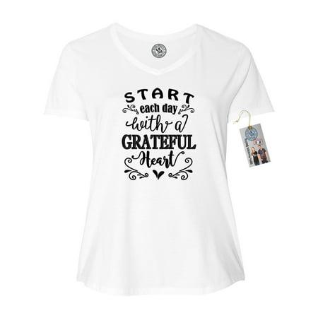 7cbc3b42ffd6 Custom Apparel R Us - Start Each Day with a Grateful Heart Shirt Plus Size  Womens V Neck T-Shirt Top - Walmart.com