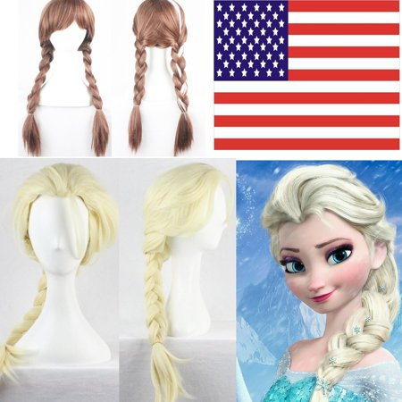 Women Adult Frozen Elsa Anna Blonde Weaving Braid Cosplay Party Hair Gift (Hair Braided To The Side With Weave)