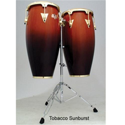 Latin Percussion LC747TSB Caliente Series Conga Set with Stand, Tobacco Burst (Tobacco Burst)