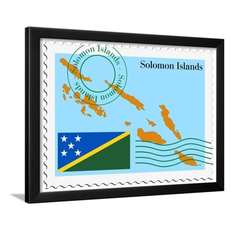 Stamp with Map and Flag of Solomon Islands Framed Print Wall Art By Perysty