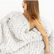 Soft Warm Hand Chunky Knit Blanket Thick Yarn Bulky Bed Sofa Spread Throw Winter 5 Colors3 size