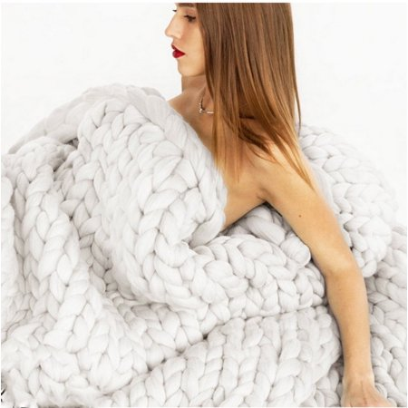 Knit Blanket Handmade Soft Warm Chunky Knit Blanket Thick Yarn Wool Bulky Bed Spread