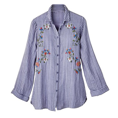 Women's Button Front Shirt - Yarn Dyed Striped Floral Embroidered Blouse