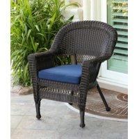 "36"" Espresso Brown Resin Wicker Outdoor Patio Garden Chair - Blue Cushion"
