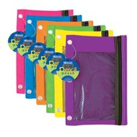 6/pk 3-Ring Pen Pencil Pouch with a Mesh Window 6 Assorted Bright colors for boys