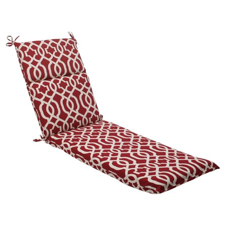 Pillow perfect outdoor indoor new geo red chaise lounge for Aqua chaise lounge cushions