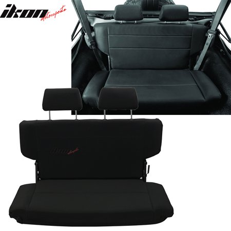 fits 97-06 jeep wrangler rear seat with 2 headrests black pu faux leather