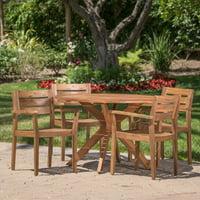 5-Piece Stamford Outdoor Wood Round Dining Set