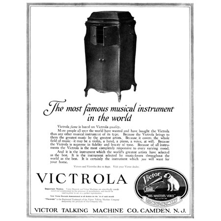 Ad Victrola 1919 Namerican Advertisement For The Victrola Manufactured By The Victor Talking Machine Company 1919 Rolled Canvas Art -  (24 x 36) Victor Talking Machine Company