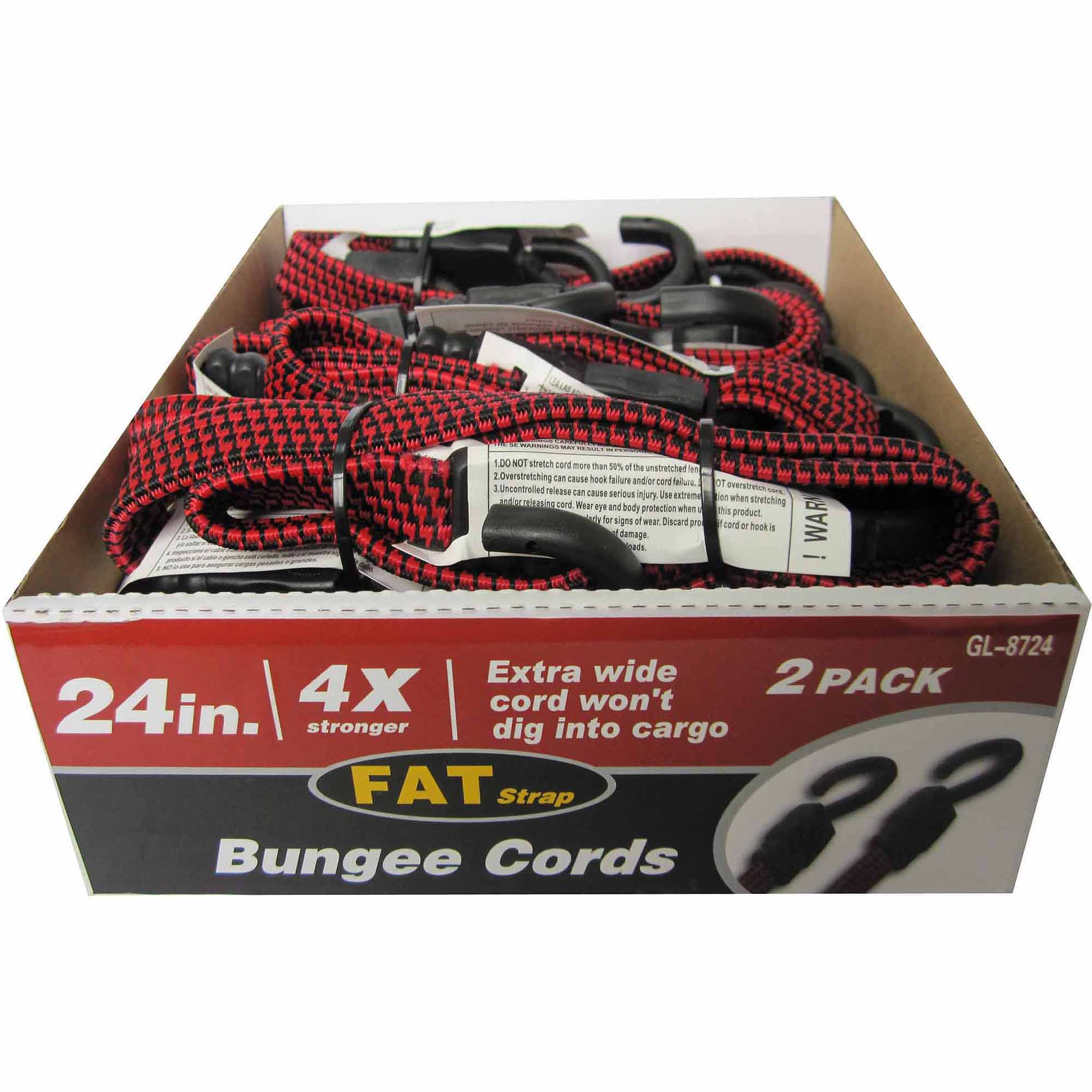 "24"" Flat Bungee Cord, 2 Pack"
