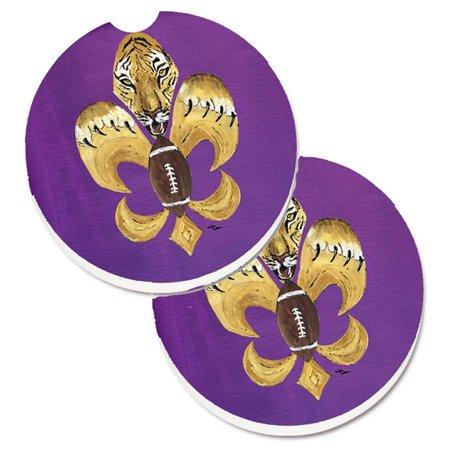Carolines Treasures 8205-2CARC Tiger Football Fleur De Lis Set of 2 Cup Holder Car Coaster - image 1 of 1