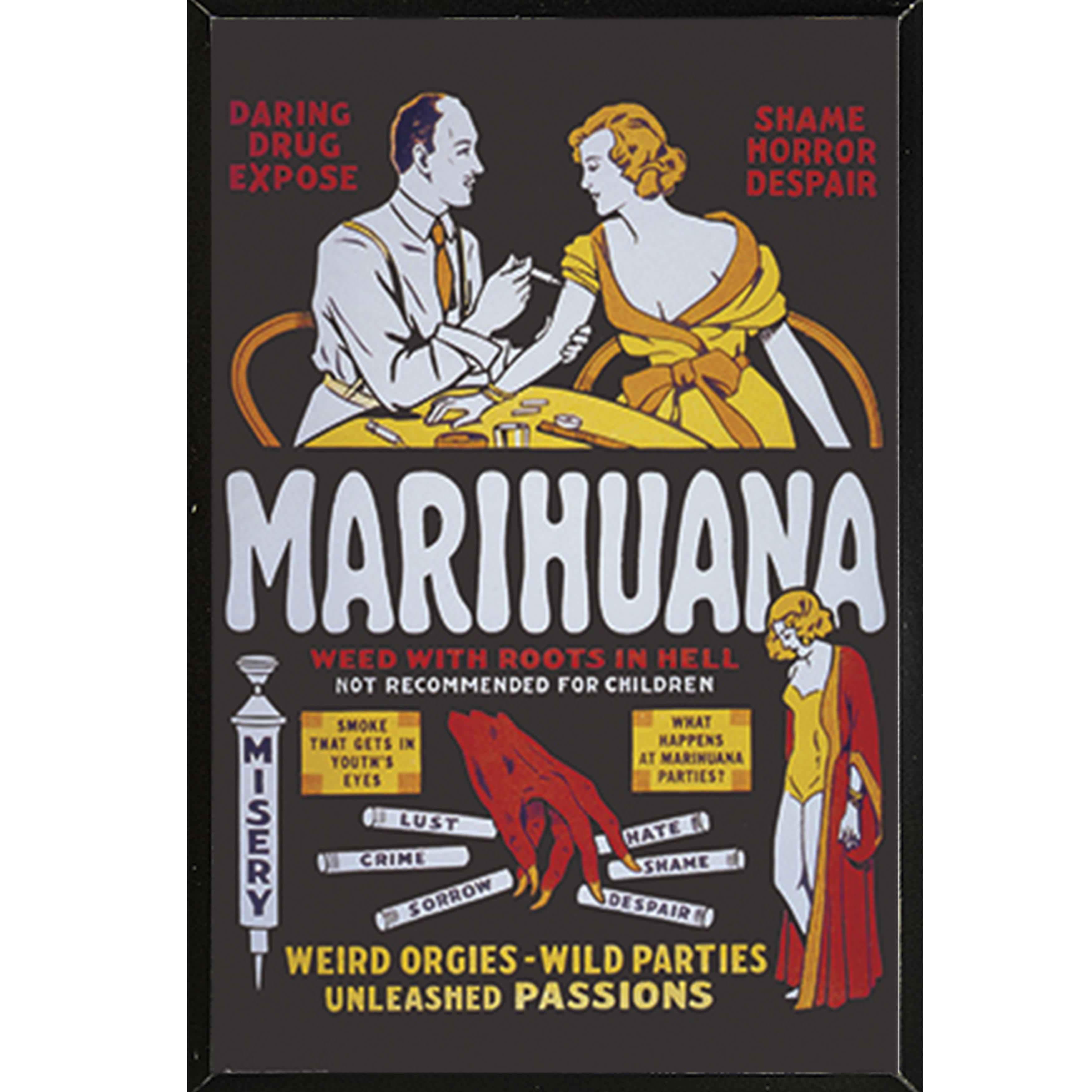 Marihuana - Weed with Roots in Hell Poster on a Black Plaque (24x36)