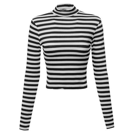 38aeeebf392 FashionOutfit - FashionOutfit Women's Long Sleeve Stripe Turtleneck Crop Top  - Walmart.com