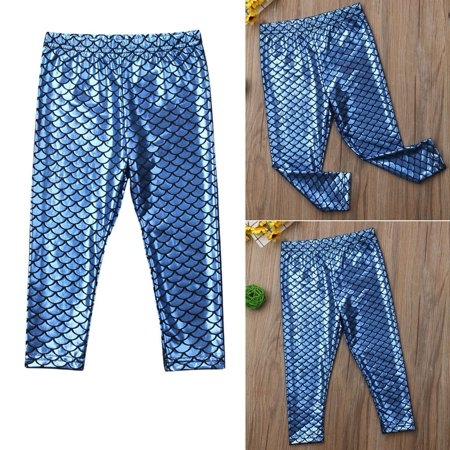 Kid Baby Girl Fashion Mermaid Fish Scale Leggings Pants Trousers Toddler Bottoms (Mermaid Pants)
