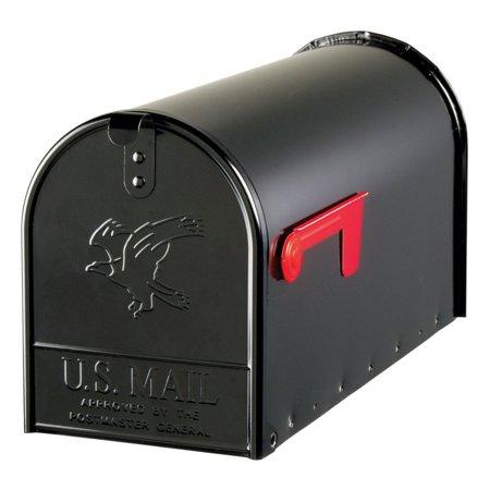 Gibraltar Elite Large, Galvanized Steel, Black Post Mount Mailbox ()