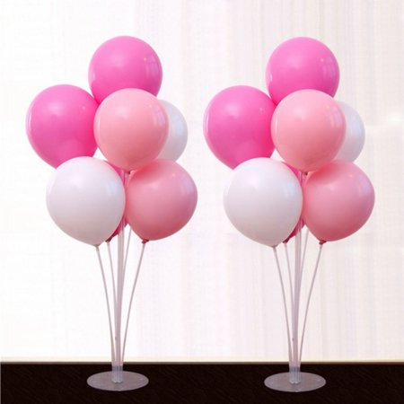 Balloon Stand Kit 2 Sets of Clear Table Desktop Balloon Holder 11 sticks, 7 Balloon Cups and 1 Balloon Base for Birthdays | Wedding Parties, Holidays, and Anniversary Decoration