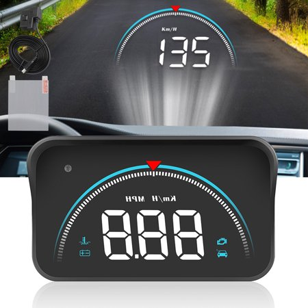 TSV Universal Car HUD, Head-Up Display Multi-Color Windshield Screen Projector Vehicle Speed & GPS Navigation Compass, Plug & Play