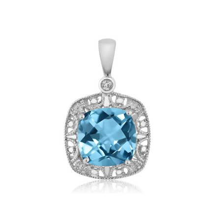 10K White Gold Women's Cushion Swiss Blue Topaz and Diamond Accent Necklace 2.75