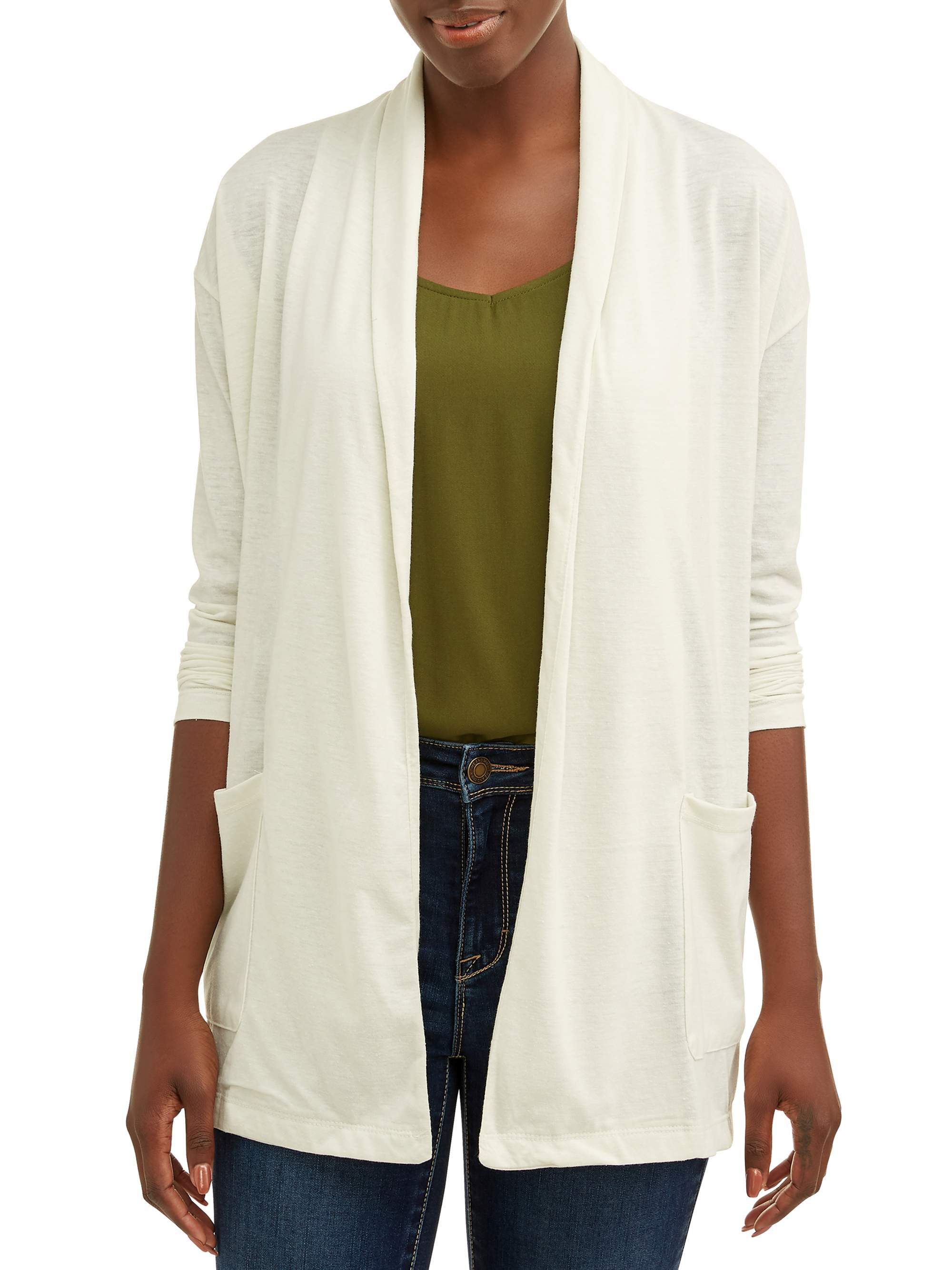 Women's Two Pocket Open Front Cardigan