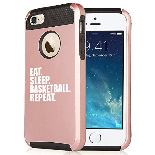 For Apple iPhone 5 5s Shockproof Impact Hard Soft Case Cover Eat Sleep Basketball Repeat (Rose Gold-Black)