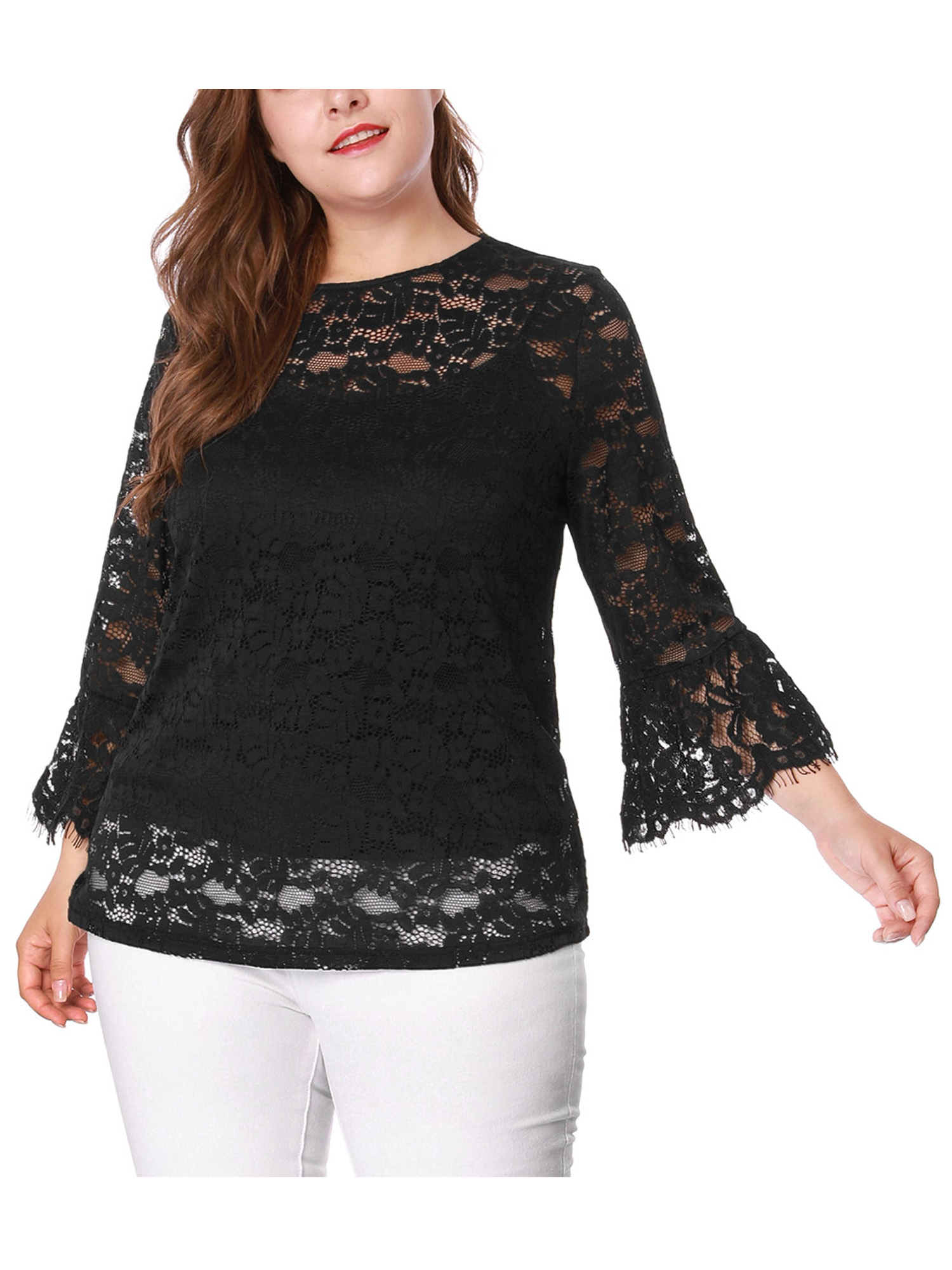 Woman/'s Black Short Sleeve Shirt 2X Top by Salon Studio Plus Size