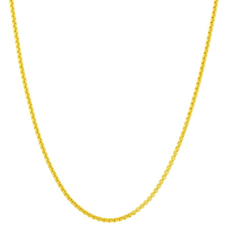 Gem Avenue Stainless Steel Gold Plated 2mm Rolo Box Chain Necklace