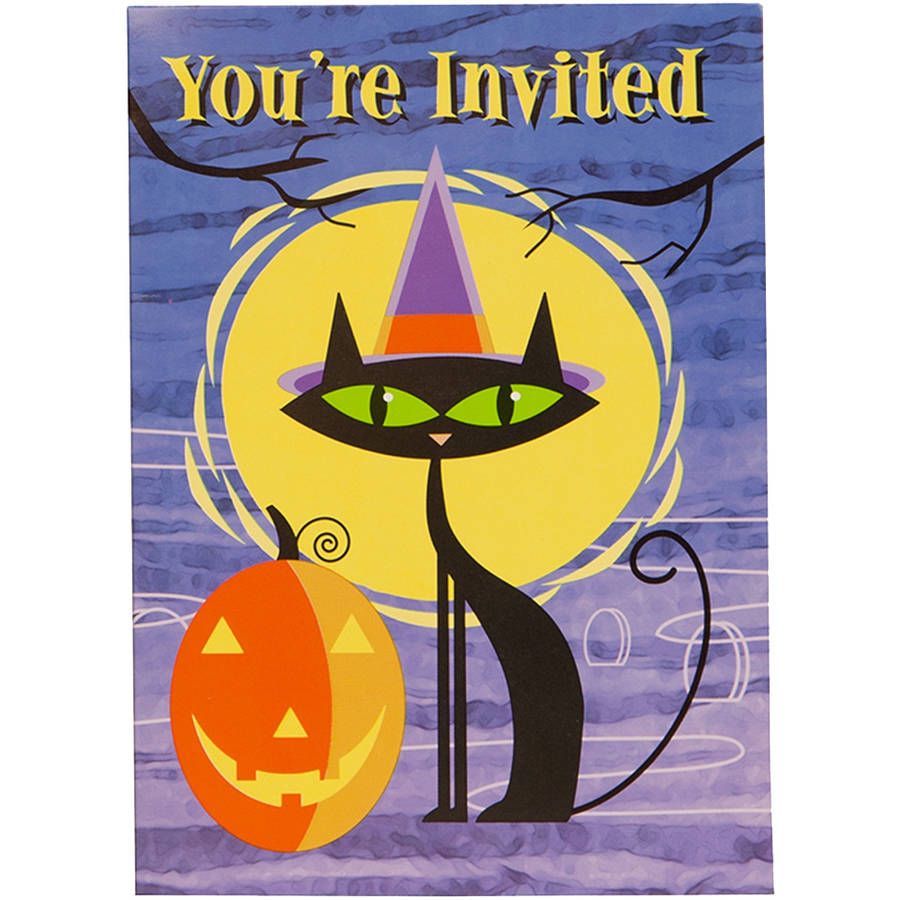 Moon Cat Halloween Invitations, 8 Count