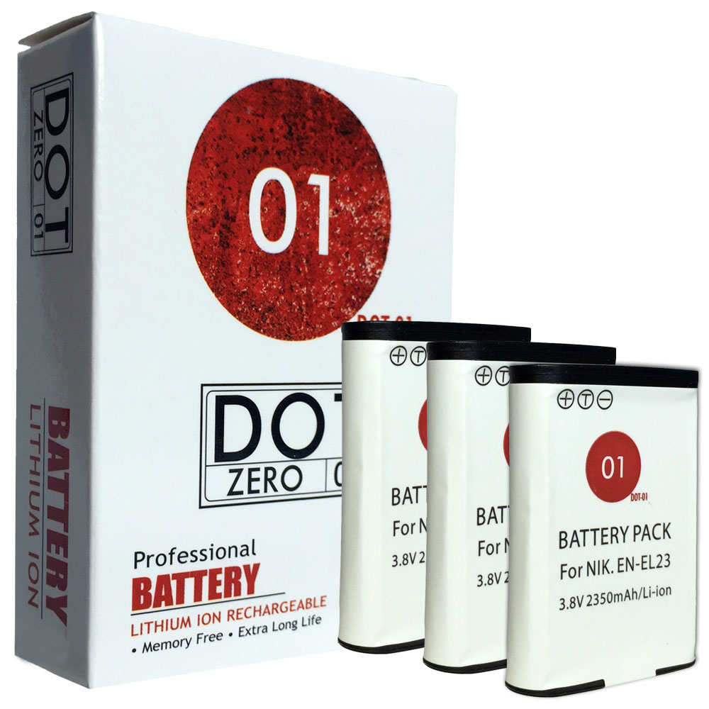 3x DOT-01 Brand 2350 mAh Replacement Nikon EN-EL23 Batteries for Nikon S810c Digital Camera and Nikon ENEL23
