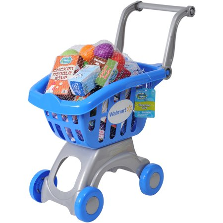 Wish I Was My Shopping Basket Play Set The Wish I Was My Shopping Cart Play Set promotes fun and imaginative play. This colorful shopping cart play set includes 32 pieces: 12 pieces of plastic play food and 18 pieces of paper box play food (two styles each). This kids' play shopping cart is a fun way for children to mimic the action of grocery shopping at home. The shopping cart toy can provide for hours of play and fun as your little one shops away and fills up the cart, just like the adults do in a real grocery store.
