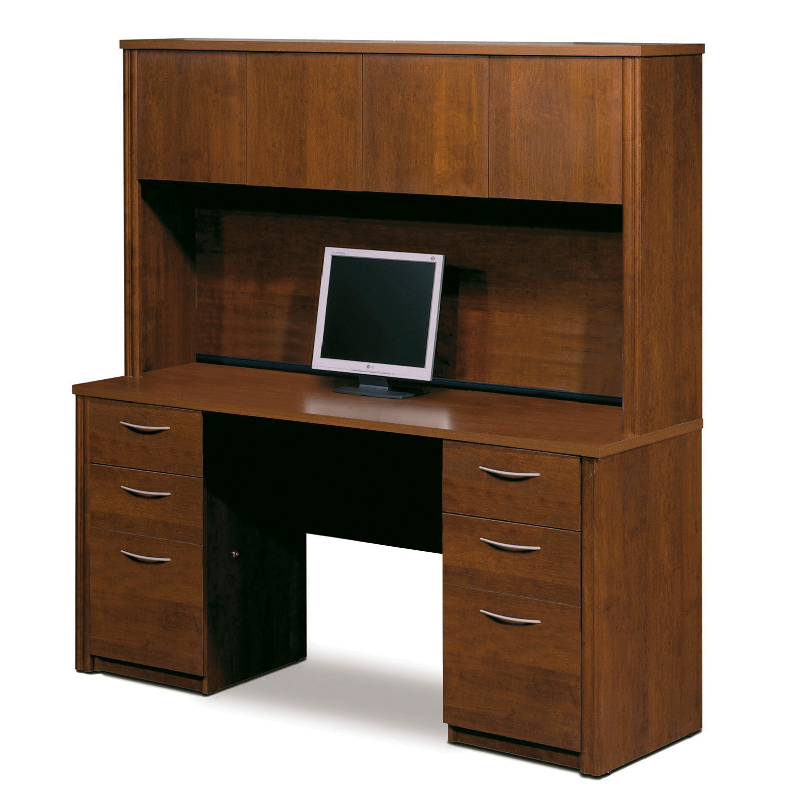 Bestar Embassy Credenza and Hutch Kit Tuscany Brown by Bestar