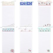 """6-Pack Magnetic Note Pads, Grocery List, To-Do & Shopping Notepad Memo for Fridge, Flower Designs, 60-Sheet per Pad, 4"""" x 8"""""""