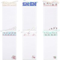 6-Pack Magnetic Notepad Grocery List, To Do List Shopping Note Pad Notepads Reminders for Fridge Refrigerator Magnet Memo Pad Stationery, Assorted Flower Designs, 60 Sheets Per Pad 4 x 8 Inches