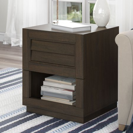 Better Homes & Gardens Ellis Shutter End Table with Spacious Drawer and Bottom Shelf, Dark Oak Finish