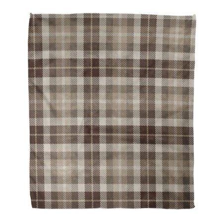 ASHLEIGH Flannel Throw Blanket Abstract Plaid Pattern Printing Tartan Brown Beige White Color Scottish Lumberjack and Hipster Check 58x80 Inch Lightweight Cozy Plush Fluffy Warm Fuzzy Soft