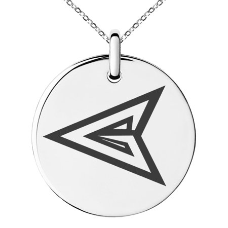 Stainless Steel DC Green Arrow Logo Engraved Small Medallion Circle Charm Pendant Necklace