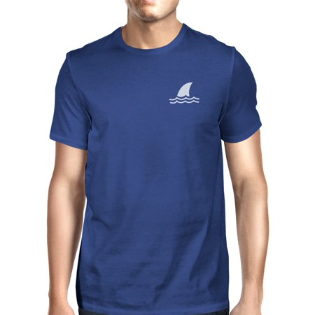 Mini Shark Royal Blue Mens Graphic T-Shirt Round Neck Tee For Him