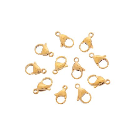 10pcs Stainless Steel Gold Lobster Claw Clasp Fastener Hook Findings 15.5x9mm