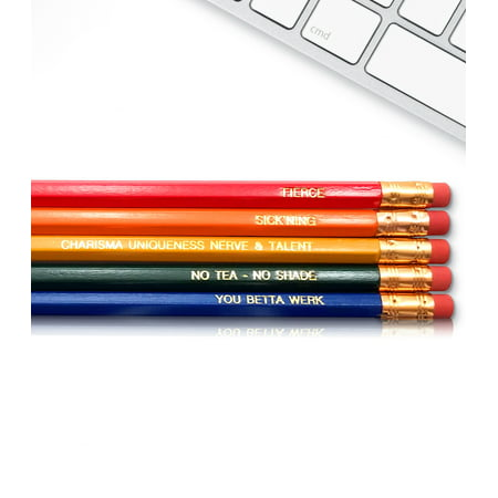Engraved Pencils (Ru Paul - Inspirational Pencils Engraved With Funny And Motivational Sayings For School And The)