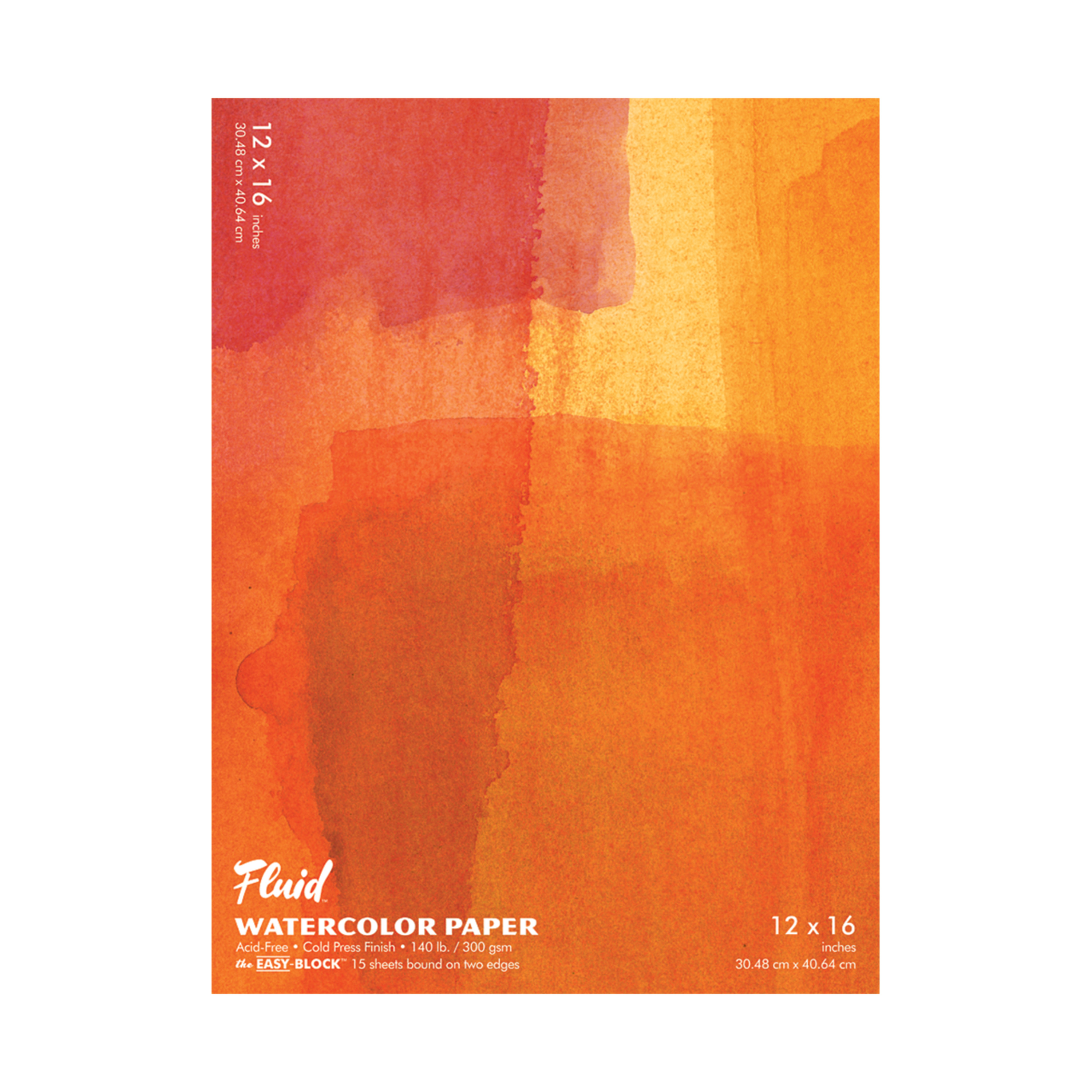 Global Art Fluid Watercolor Paper Block, Cold-Press, 12in x 16in 15 Sheets/Pad