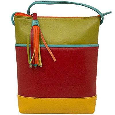 leather color-block mini sac cross-body handbag (citrus)