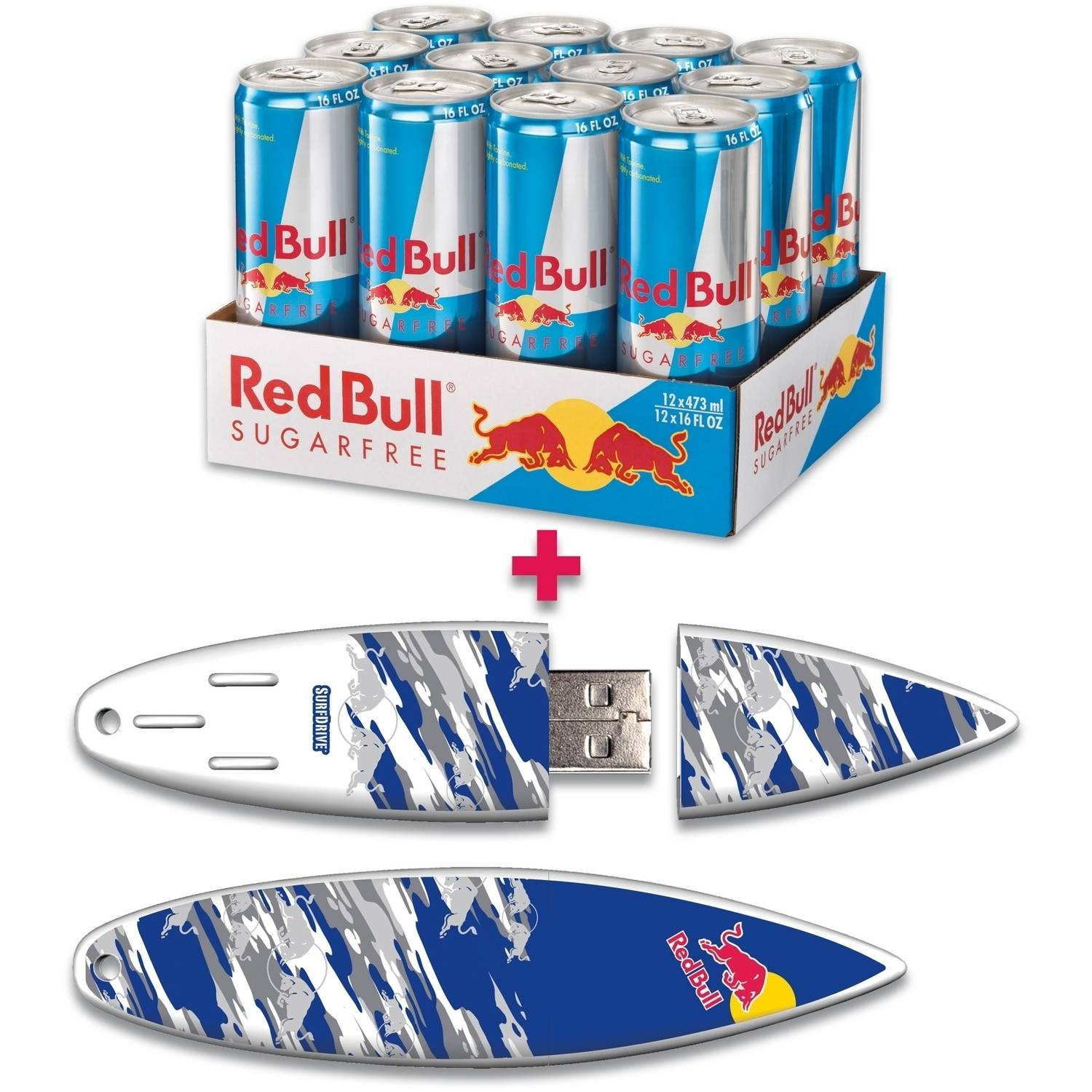 Red Bull 12-Pack 16-Ounce Sugar Free Energy Drink and 16GB Blue Camo USB SurfDrive