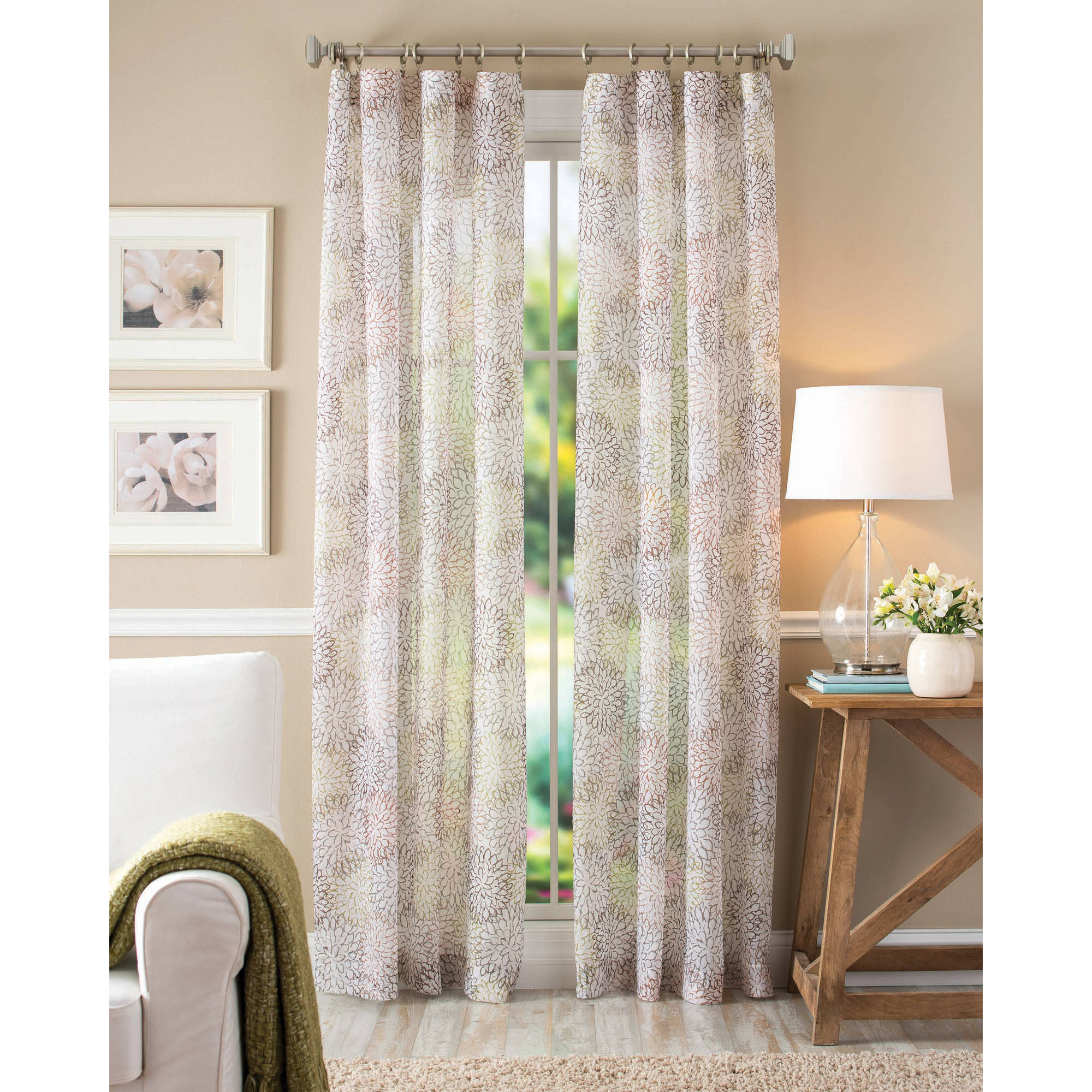 Better Homes and Gardens Floral Blossom Curtain Panel, Color Ivory, Size 51x84