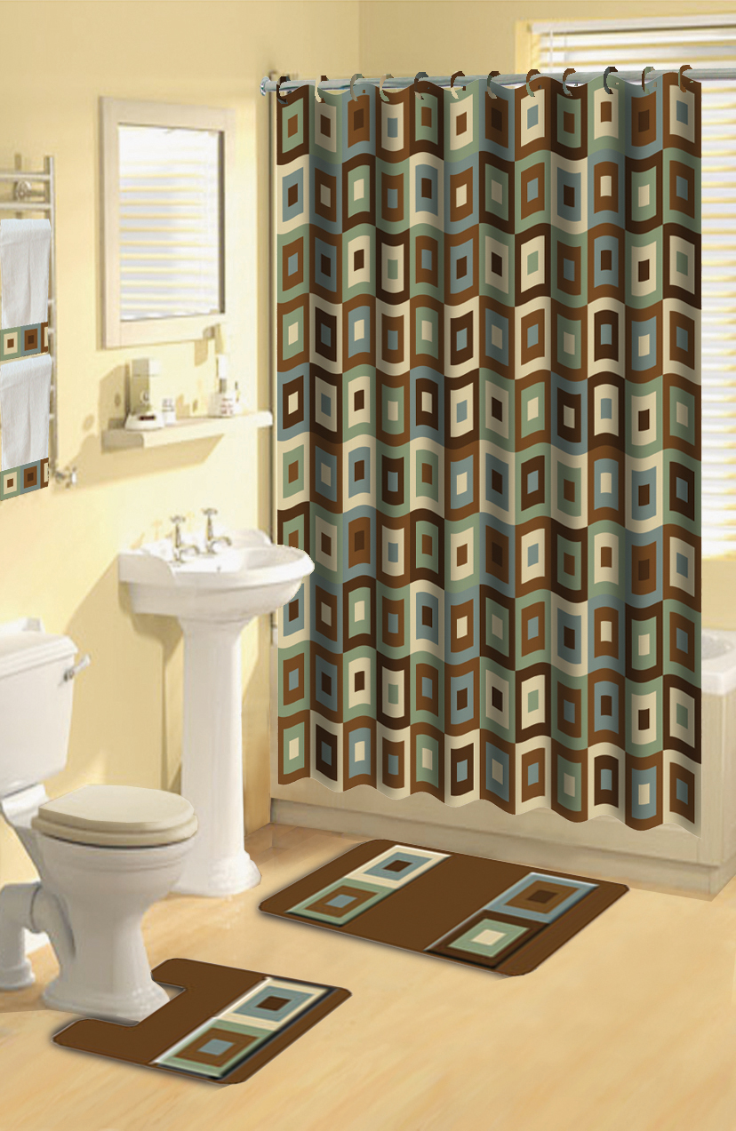 Home Dynamix Boutique Deluxe Shower Curtain And Bath Rug Set BOU 11 Blocks Brown Blue 17 Piece