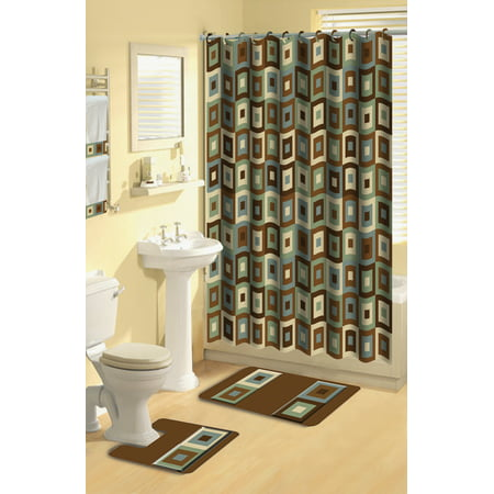 Home Dynamix Boutique Deluxe Shower Curtain and Bath Rug Set: BOU 11 ...