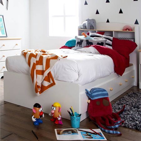 South Shore Summertime Twin Storage Bed and Headboard, White and Maple ()