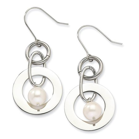 Stainless Steel Polished Circle w/ White Freshwater Cultured Pearl Dangle Earrings Freshwater Stainless Steel Earrings