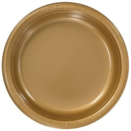 Hanna K. Signature Collection 100 Count Plastic Plate, 10-Inch, Gold