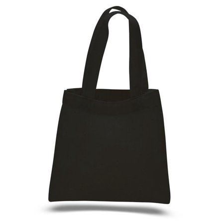 100% Cotton Budget Friendly Wholesale Mini Gift Tote Bag - TB106 - Set of 12, Black